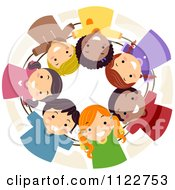 Cartoon Of A Diverse Huddled Team Of Children Royalty Free Vector Clipart