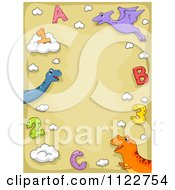 Cartoon Of A School Border Of Dinosaurs Letters And Numbers On Tan Royalty Free Vector Clipart