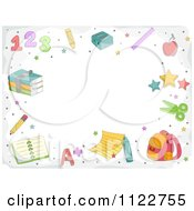 Cartoon Of A School Border Of Supplies And Copyspace Royalty Free Vector Clipart