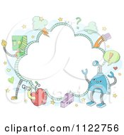 Cartoon Of A Frame Of Doodled Robots And A Worm In An Apple Royalty Free Vector Clipart