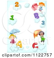 Border Of Children With Letters Numbers And Umbrellas In Clouds