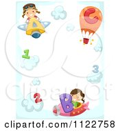 Cartoon Of A Border Of A Boy And Girl Flying Letter Planes With Numbers On Clouds Royalty Free Vector Clipart