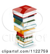 Cartoon Of A Tall Stack Of Literature Books Royalty Free Vector Clipart