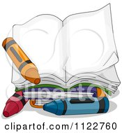 Cartoon Of An Open Book With Crayons Royalty Free Vector Clipart