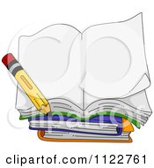 Cartoon Of An Open Book With A Pencil Royalty Free Vector Clipart