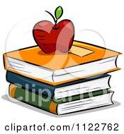 Cartoon Of An Apple Atop Books Royalty Free Vector Clipart