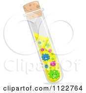 Cartoon Of Viruses In A Test Tube Royalty Free Vector Clipart