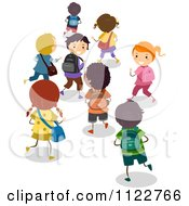 Cartoon Of Happy Diverse School Children Walking Royalty Free Vector Clipart