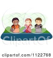 Cartoon Of Happy Diverse School Children In A Fenced Area Royalty Free Vector Clipart