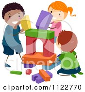 Cartoon Of Happy Diverse Kids Playing With Building Blocks Royalty Free Vector Clipart by BNP Design Studio