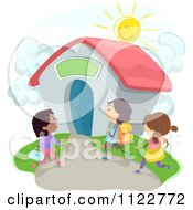 Cartoon Of Enthusiastic Diverse School Children Walking To A Building Royalty Free Vector Clipart