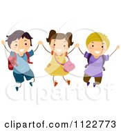 Cartoon Of Excited School Children Holding Hands And Jumping Royalty Free Vector Clipart