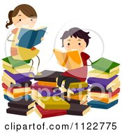 Cartoon Of Children Reading In A Book Pile Royalty Free Vector Clipart