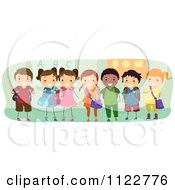 Cartoon Of Happy Diverse School Kids Standing In A Class Room Royalty Free Vector Clipart