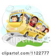 Cartoon Of Happy Diverse School Children On A Bus Royalty Free Vector Clipart