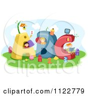 Cartoon Of School Children Playing In Big Letters Royalty Free Vector Clipart