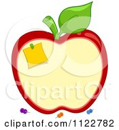 Cartoon Of A School Apple Shaped Cork Board With Pins Royalty Free Vector Clipart