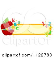 Cartoon Of A School Banner With An Apple Letters And Numbers Royalty Free Vector Clipart by BNP Design Studio