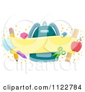 Cartoon Of A School Banner With A Backpack And Supplies Royalty Free Vector Clipart by BNP Design Studio