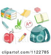 Cartoon Of A Stack Of Books Paper Organizer Pencil Sharpener Crayon Scissors Apple And Book Bag Royalty Free Vector Clipart