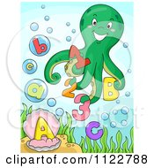 Cartoon Of A Happy Octopus With Letters And Numbers Royalty Free Vector Clipart by BNP Design Studio