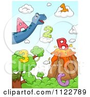 Cartoon Of Dinosaurs With Letters And Numbers 1 Royalty Free Vector Clipart by BNP Design Studio
