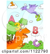 Cartoon Of Dinosaurs With Letters And Numbers 1 Royalty Free Vector Clipart