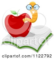 Cartoon Of A Happy Nerdy Worm In An Apple On A Book Royalty Free Vector Clipart