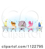 Cartoon Of Happy Clownfish Pufferfish Betta Blue Tang And A Yellow Butterfly Fish At School Desks Royalty Free Vector Clipart