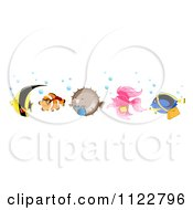 Cartoon Of A Line Of Happy Clownfish Pufferfish Betta Blue Tang And A Yellow Butterfly Fish Royalty Free Vector Clipart