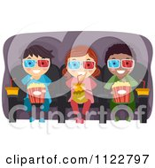 Cartoon Of Happy Diverse Kids With Drinks And Popcorn In A 3d Movie Royalty Free Vector Clipart