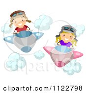 Cartoon Of A Boy And Girl Flying Airplanes Royalty Free Vector Clipart