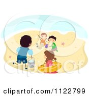 Cartoon Of Diverse Kids Playing On A Beach Royalty Free Vector Clipart