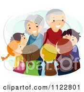 Cartoon Of A Group Of Happy Kids Around Their Grandparents Royalty Free Vector Clipart