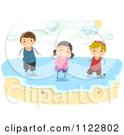 Cartoon Of Happy Children Playing In The Beach Surf Royalty Free Vector Clipart