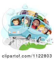 Cartoon Of Happy Children On A Road Trip Royalty Free Vector Clipart