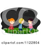 Cartoon Of Happy Children Walking Under A Starry Sky Royalty Free Vector Clipart
