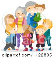 Cartoon Of Happy Grandparents And Kids Royalty Free Vector Clipart