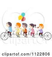 Happy Children With Snacks On A Tandem Bike