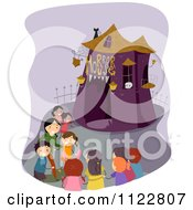 Cartoon Of Happy Children At A Horror House Royalty Free Vector Clipart by BNP Design Studio