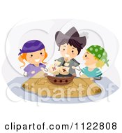 Cartoon Of Happy Columbus Day Children Playing With A Boat On A Map Royalty Free Vector Clipart