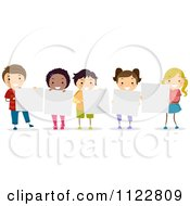 Happy Diverse Kids Holding Blank Boards