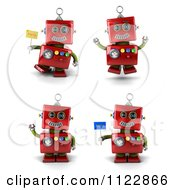 Clipart Of A 3d Red Robot Waving Jumping And Holding Flags Royalty Free CGI Illustration by stockillustrations