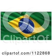 Clipart Of A 3d Waving Flag Of Brazil Rippling And Waving Royalty Free CGI Illustration