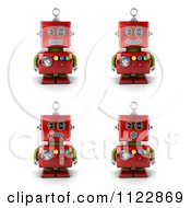 3d Red Robot With Different Emotional Expressions