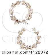 Clipart Of Vintage Sepia Oak And Laurel Wreaths Royalty Free Vector Illustration
