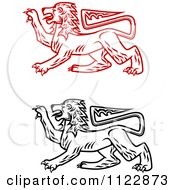 Clipart Of Heraldic Lions 2 Royalty Free Vector Illustration