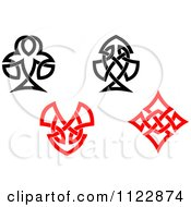 Clipart Of Celtic Knot Poker Playing Card Suite Symbols Royalty Free Vector Illustration