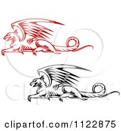 Clipart Of Resting Griffins 2 Royalty Free Vector Illustration by Vector Tradition SM