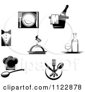 Clipart Of Black And White Restaurant Logos Royalty Free Vector Illustration by Vector Tradition SM